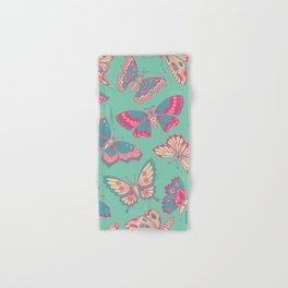 Pink Butterflies on Aqua Hand & Bath Towel