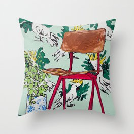 School Chair and Mint Cockatoo Wallpaper Throw Pillow