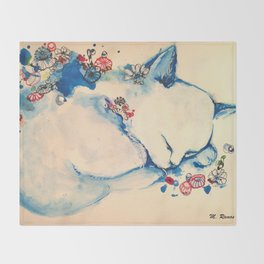 Cat sleeping with flowers Throw Blanket