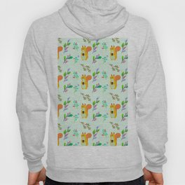 Cute hand painted yellow orange squirrel teal coral floral pattern Hoody