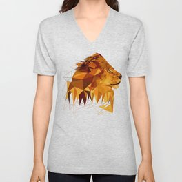 Geometric Lion Wild animals Big cat Low poly art Brown and Yellow Unisex V-Neck