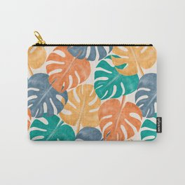 Colorful Tropical Monstera Deliciosa Plant Leaves, Modern Abstract Hand-painted Watercolor Botanical Pattern in Mint, Indigo, Ochre and Mustrad Colors Carry-All Pouch