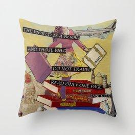 Travel The World Through Books Throw Pillow