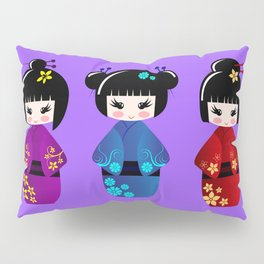 Cute kokeshi dolls cartoon Pillow Sham