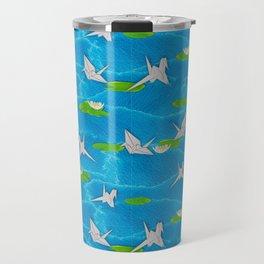 Paper cranes in a pond origami Travel Mug