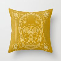 c3po Throw Pillows featuring C3PO by Jon Deviny