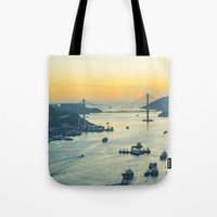 hong kong Tote Bags featuring Hong Kong by Rothko