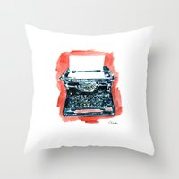 typewriter Throw Pillows featuring Typewriter by Elena Sandovici