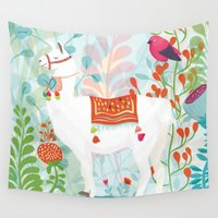 llama Wall Tapestries featuring Llama by The Wildest Little Things