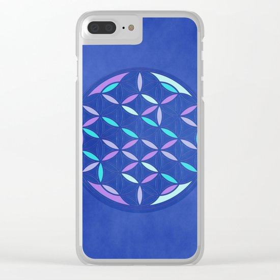 Flower of life 2017 blue Clear iPhone Case