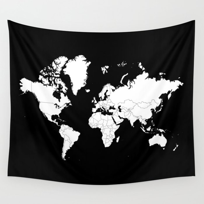 Minimalist world map white on black background wall tapestry by minimalist world map white on black background wall tapestry gumiabroncs Gallery