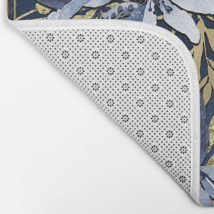 Navy Blue & Gold Watercolor Floral Bath Mat