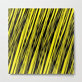Black lines on a yellow background pattern Metal Print