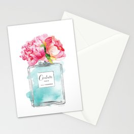 Perfume, watercolor, perfume bottle, with flowers, Teal, Silver, peonies, Fashion illustration Stationery Cards