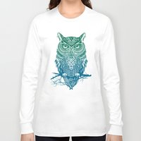fire Long Sleeve T-shirts featuring Warrior Owl by Rachel Caldwell