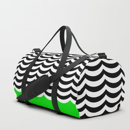 Black and white waves with green accent Duffle Bag