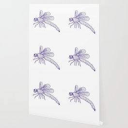 Dragonfly Flying Drawing Side Wallpaper