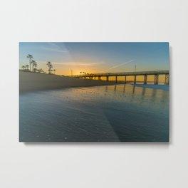 Clear Sky Sunrise at Balboa Pier Metal Print