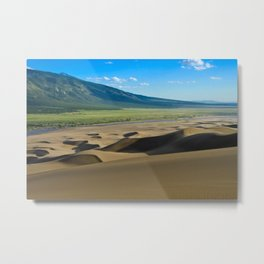 Great Sand Dunes against mountains Metal Print