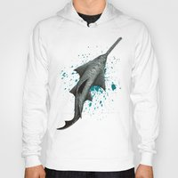 biology Hoodies featuring Sawfish - Acrylic Painting by Amber Marine