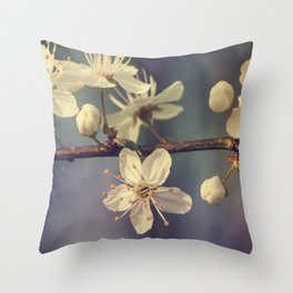 Cherry blossom tree in the blue Throw Pillow