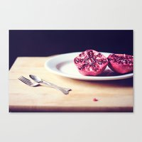 pomegranate Canvas Prints featuring pomegranate by Mary Carroll