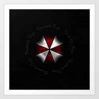 resident evil Art Prints featuring RESIDENT EVIL - UMBRELLA by Raisya