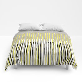 Yellow Rising - abstract stripes in yellow, grey, black & white Comforters