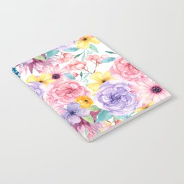 Modern elegant pink lavender yellow watercolor floral Notebook