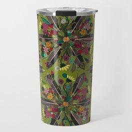 bohemian posy green Travel Mug