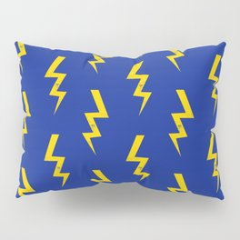 Lightning bolt fun pattern decor blue and gold boys room nursery superhero Pillow Sham