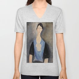 "Amedeo Modigliani ""Young Woman in Blue"" Unisex V-Neck"