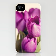 Dark Purple Tulips Slim Case iPhone (4, 4s)