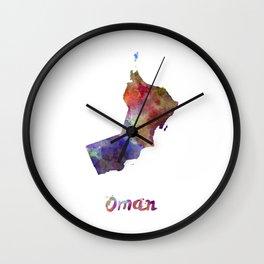 Oman in watercolor Wall Clock