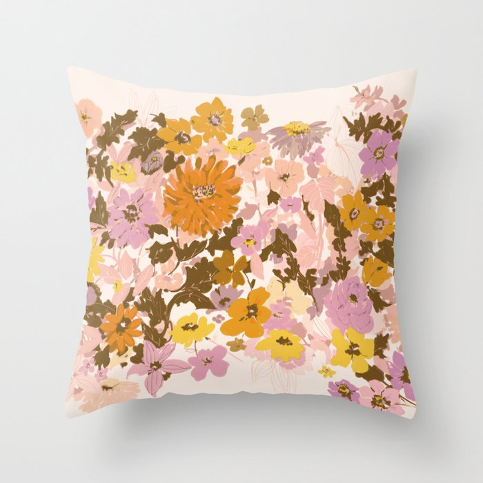 vintage wildflowers Throw Pillow