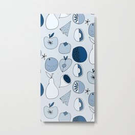 Classic Blue Fruits Ice Metal Print