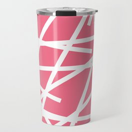 Abstract Criss Cross White Strokes on Pink Background Travel Mug