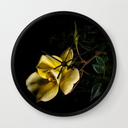 Yellow rose on black -3 Wall Clock