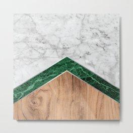 Arrows - White Marble, Green Granite & Wood #941 Metal Print