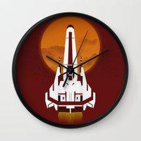 battlestar galactica Wall Clocks featuring Battlestar Galactica Viper MK II by jake