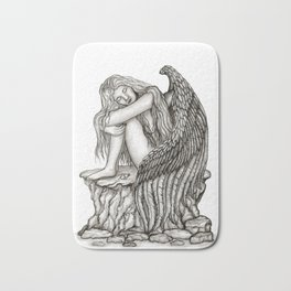 A sleeping Angel , Black and white Design Bath Mat