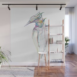 Kingfisher 1c. Color lines on white background-(Red eyes series) Wall Mural