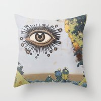 third eye Throw Pillows featuring Third Eye  by CUTS