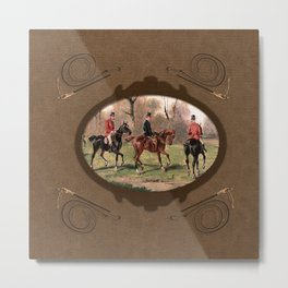Leather foxhunt framed Metal Print