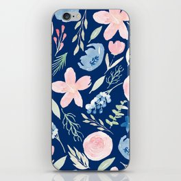 Blush Pink And Navy Blue Watercolor iPhone Skin