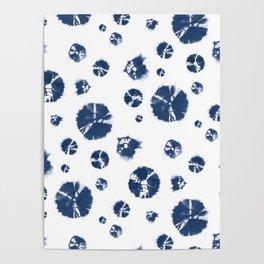 Shibori Polka Splotch Indigo Blue Poster