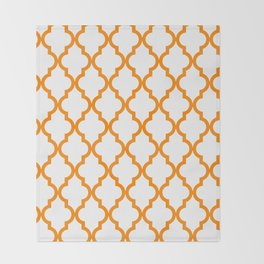 Moroccan Quatrefoil Pattern: Orange Throw Blanket