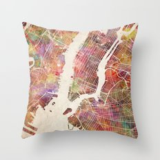 New York Map Watercolor Throw Pillow