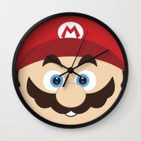 super mario Wall Clocks featuring Super Mario by Xiao Twins
