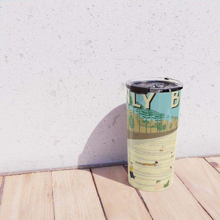 Manly Beach Retro Art Print Travel Mug